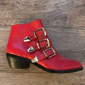 Shoemint Red Leather Boots w/ Gold Studded Buckles